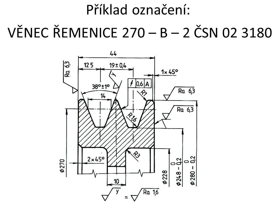 Příklad označení: VĚNEC ŘEMENICE 270 – B – 2 ČSN 02 3180
