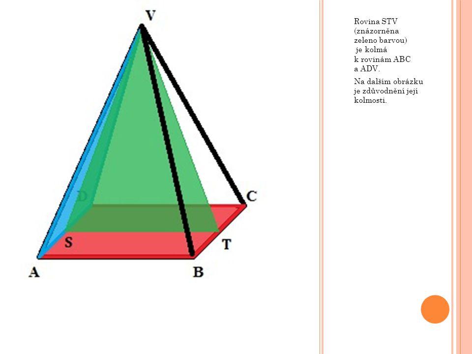 Rovina STV (znázorněna zeleno barvou) je kolmá k rovinám ABC a ADV.