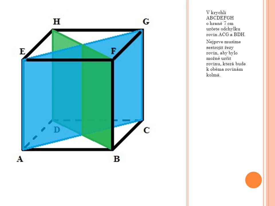 V krychli ABCDEFGH o hraně 7 cm určete odchylku rovin ACG a BDH.