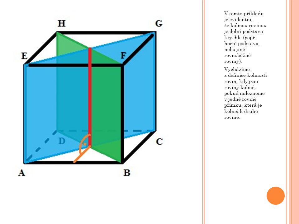 V tomto příkladu je evidentní, že kolmou rovinou je dolní podstava krychle (popř. horní podstava, nebo jiné rovnoběžné roviny).