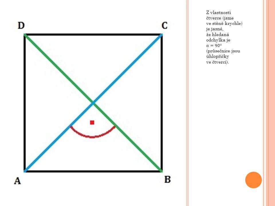 Z vlastností čtverce (jsme ve stěně krychle) je jasné, že hledaná odchylka je α= 90° (průsečnice jsou úhlopříčky ve čtverci).