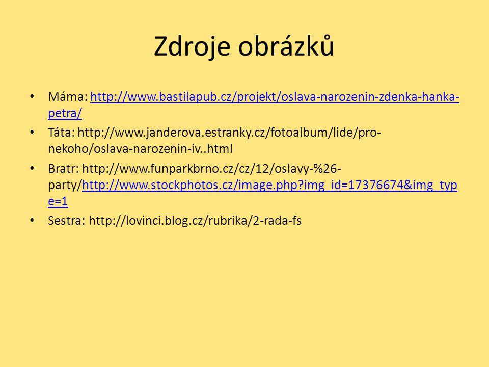 Zdroje obrázků Máma: http://www.bastilapub.cz/projekt/oslava-narozenin-zdenka-hanka-petra/