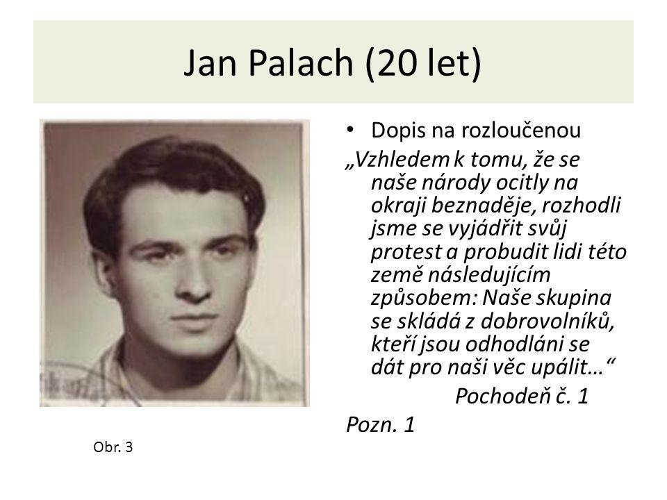 Jan Palach (20 let) Dopis na rozloučenou