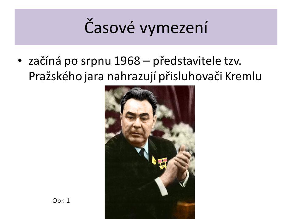 Časové vymezení začíná po srpnu 1968 – představitele tzv. Pražského jara nahrazují přisluhovači Kremlu.