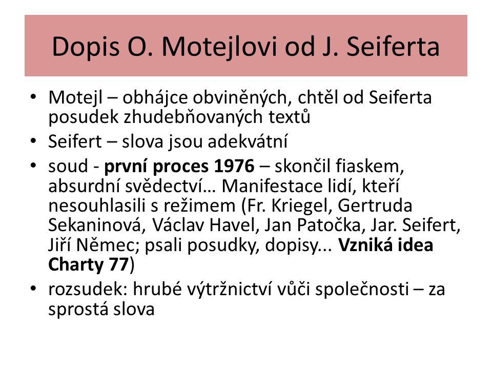 Dopis O. Motejlovi od J. Seiferta