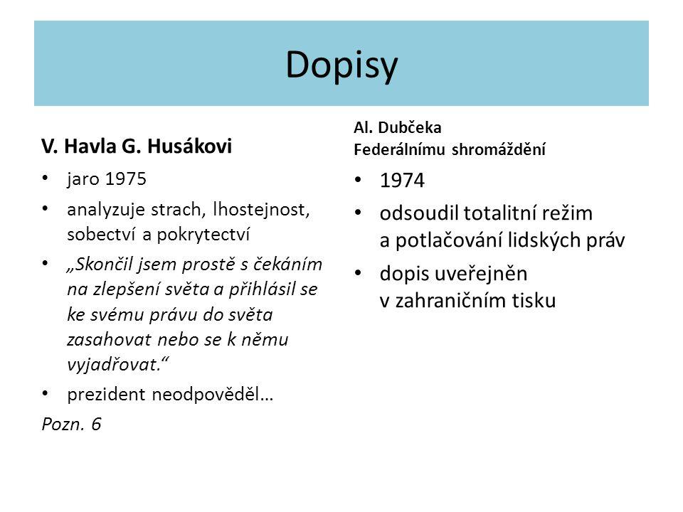 Dopisy V. Havla G. Husákovi 1974