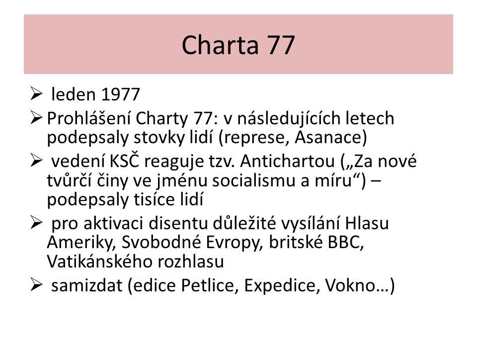 Charta 77 leden 1977. Prohlášení Charty 77: v následujících letech podepsaly stovky lidí (represe, Asanace)