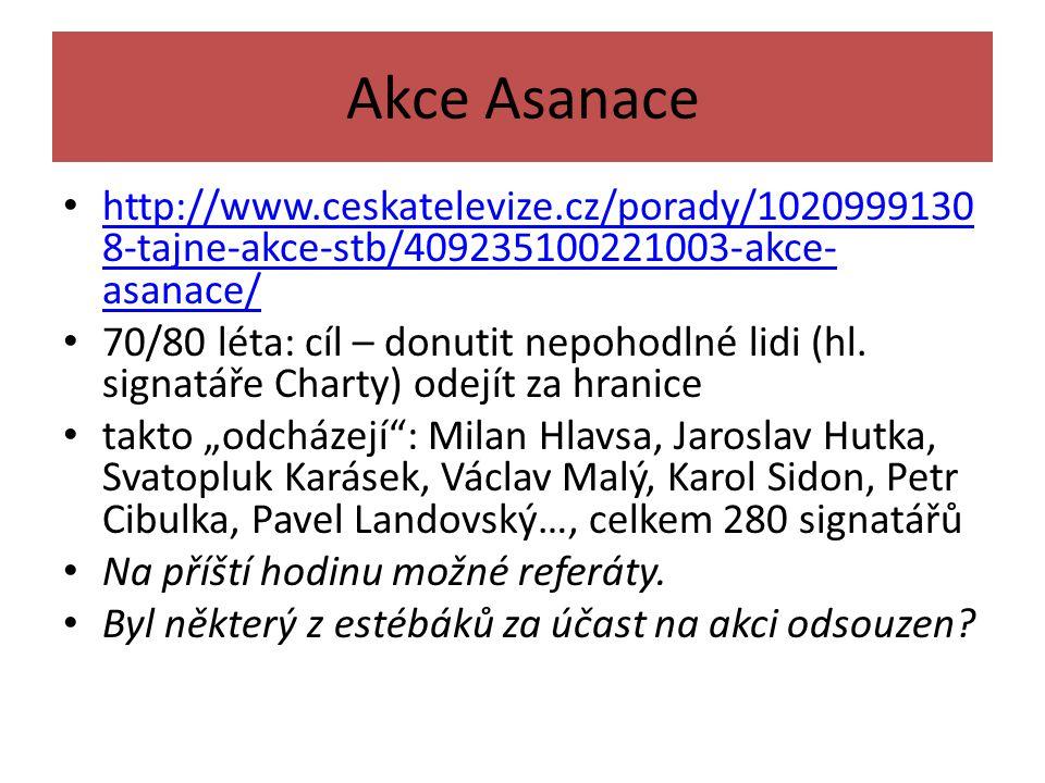 Akce Asanace http://www.ceskatelevize.cz/porady/10209991308-tajne-akce-stb/409235100221003-akce-asanace/
