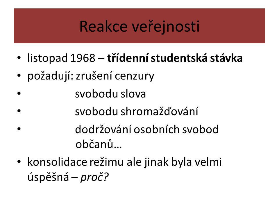 Reakce veřejnosti listopad 1968 – třídenní studentská stávka