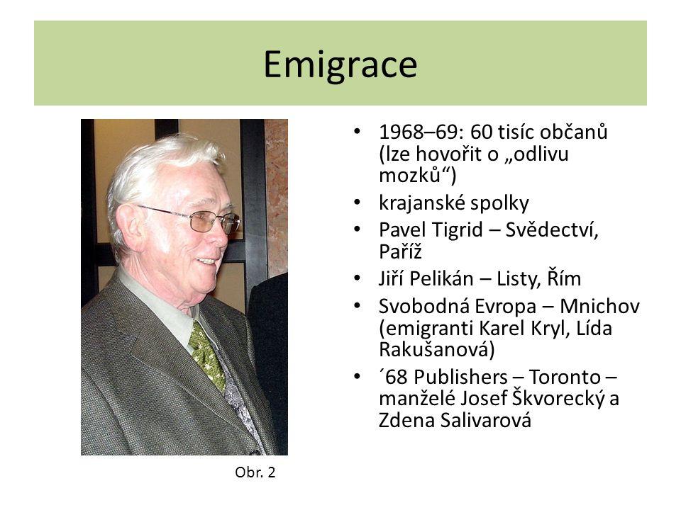 """Emigrace 1968–69: 60 tisíc občanů (lze hovořit o """"odlivu mozků )"""