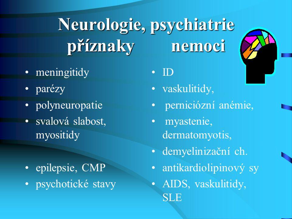 Neurologie, psychiatrie příznaky nemoci