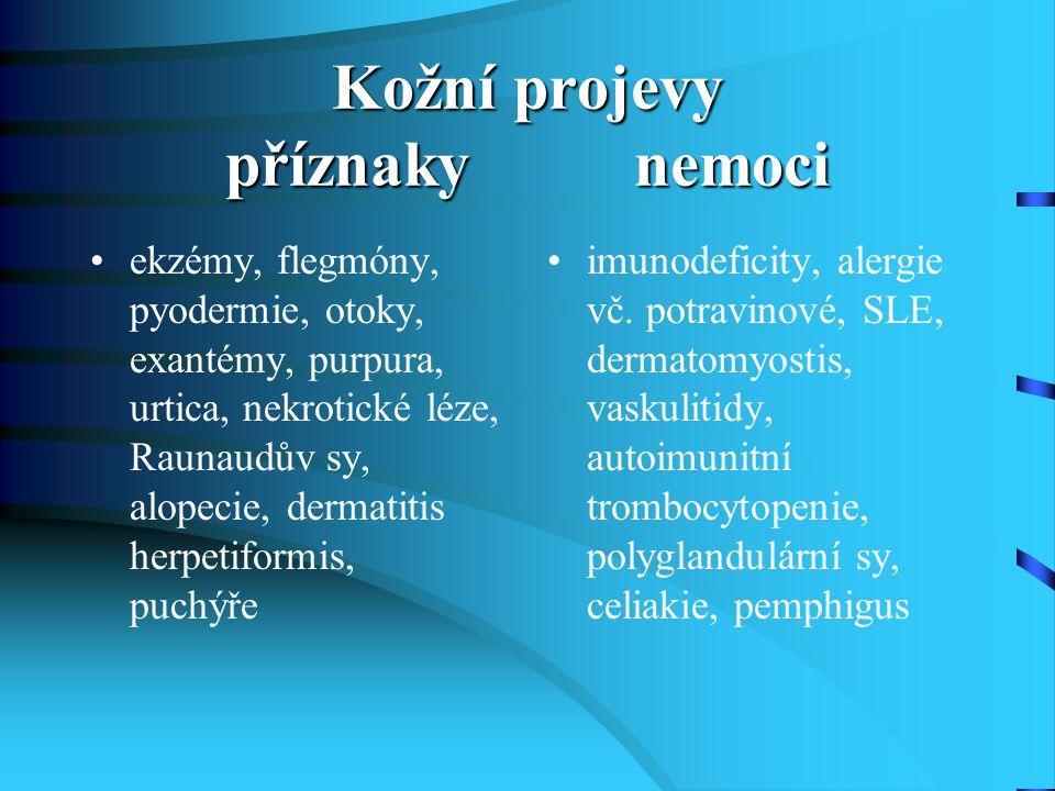 Kožní projevy příznaky nemoci