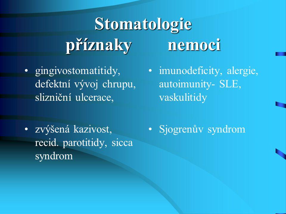 Stomatologie příznaky nemoci