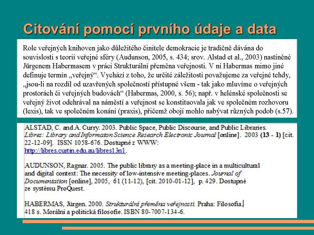Citování pomocí prvního údaje a data