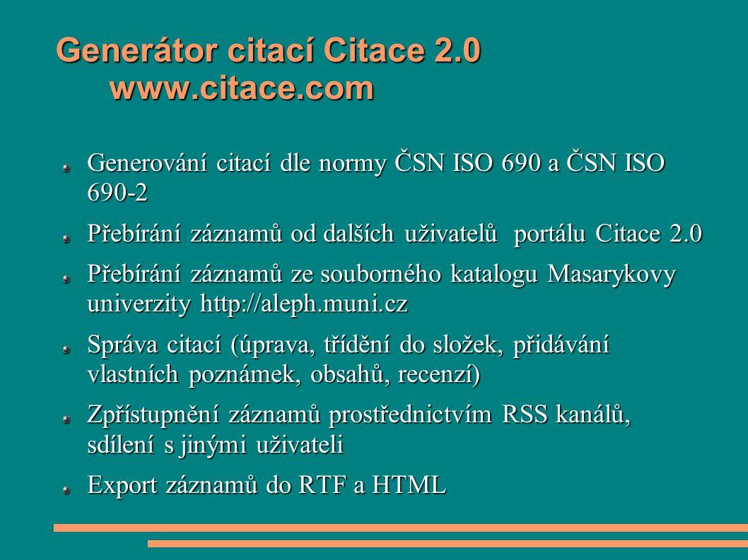Generátor citací Citace 2.0 www.citace.com