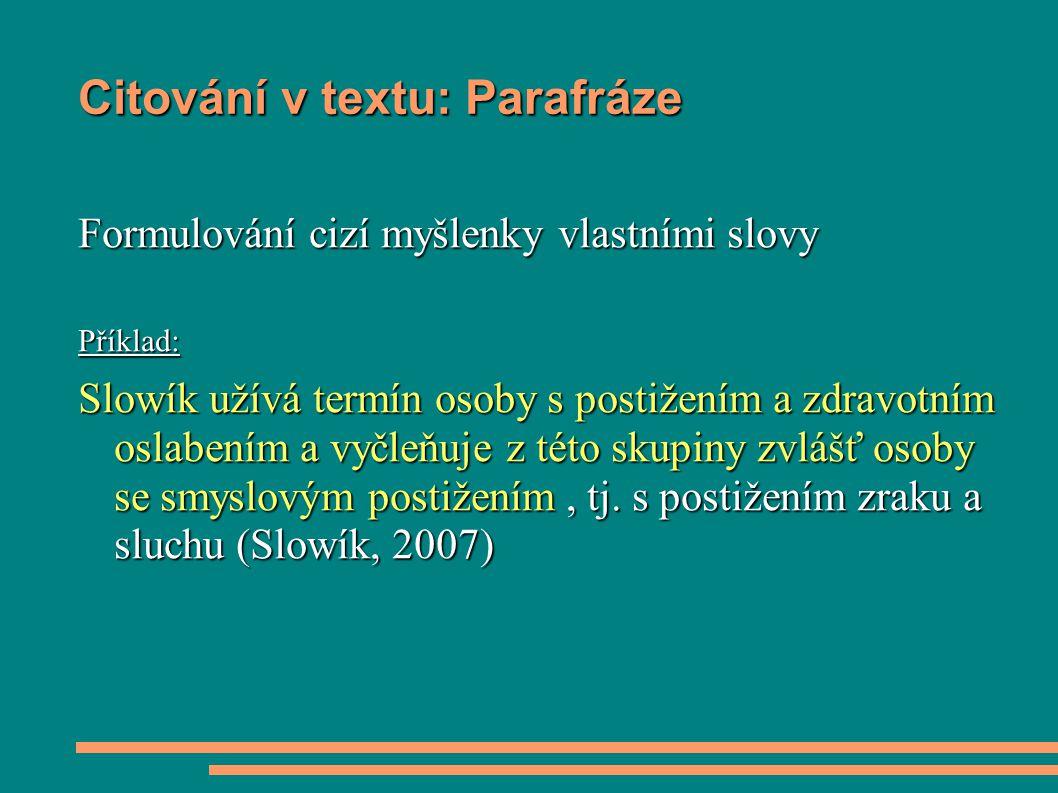 Citování v textu: Parafráze