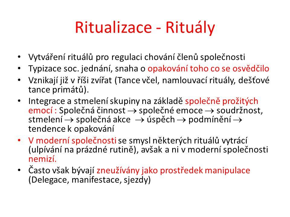 Ritualizace - Rituály Vytváření rituálů pro regulaci chování členů společnosti. Typizace soc. jednání, snaha o opakování toho co se osvědčilo.