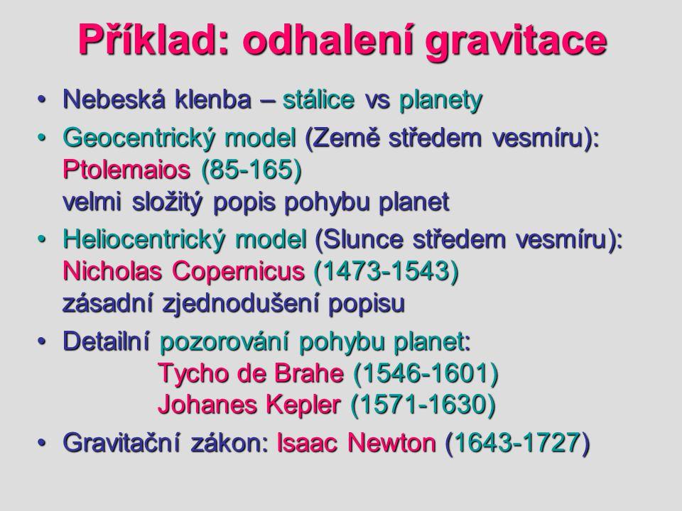 Příklad: odhalení gravitace