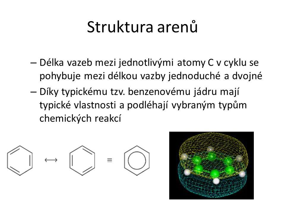 Struktura arenů Délka vazeb mezi jednotlivými atomy C v cyklu se pohybuje mezi délkou vazby jednoduché a dvojné.
