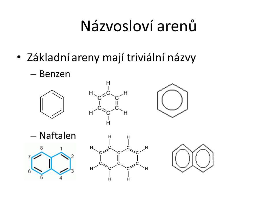 Názvosloví arenů Základní areny mají triviální názvy Benzen Naftalen