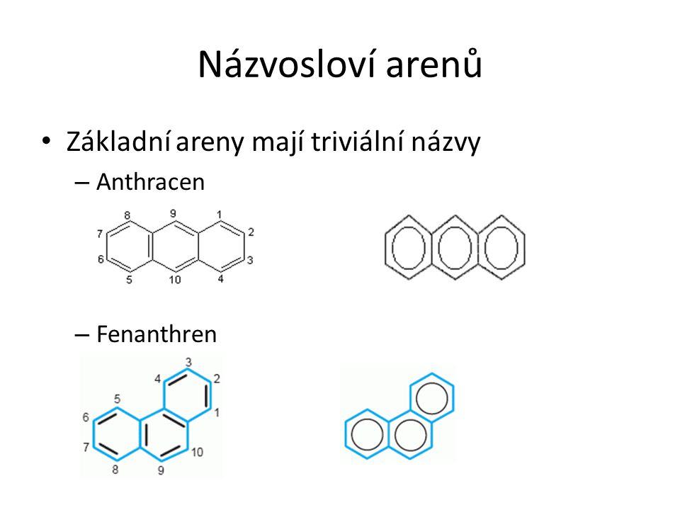 Názvosloví arenů Základní areny mají triviální názvy Anthracen