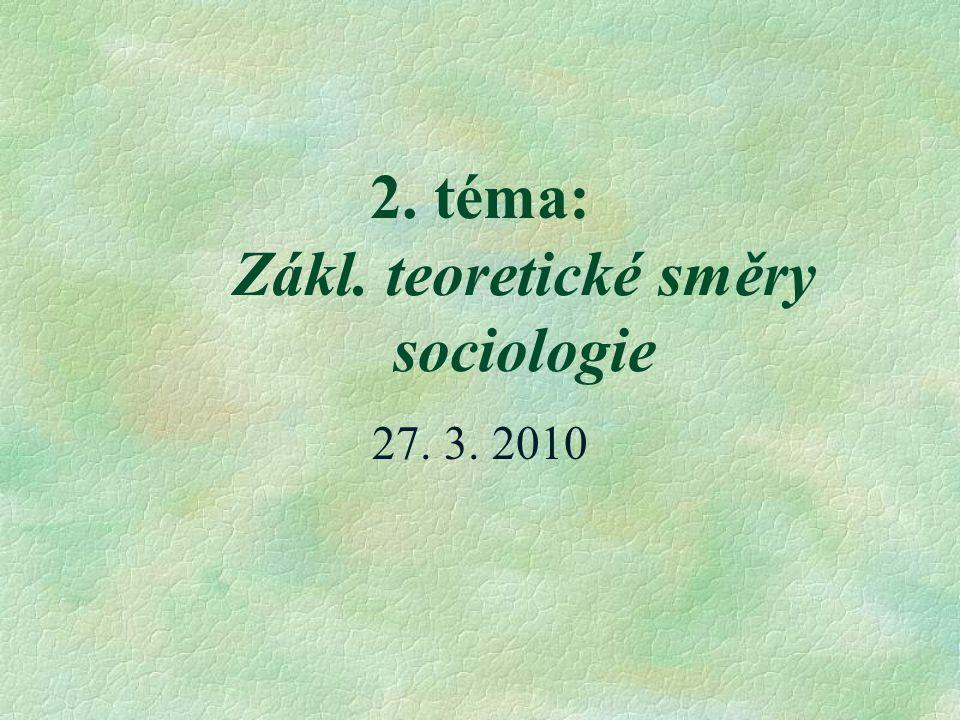 2. téma: Zákl. teoretické směry sociologie