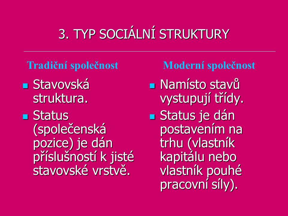 3. TYP SOCIÁLNÍ STRUKTURY