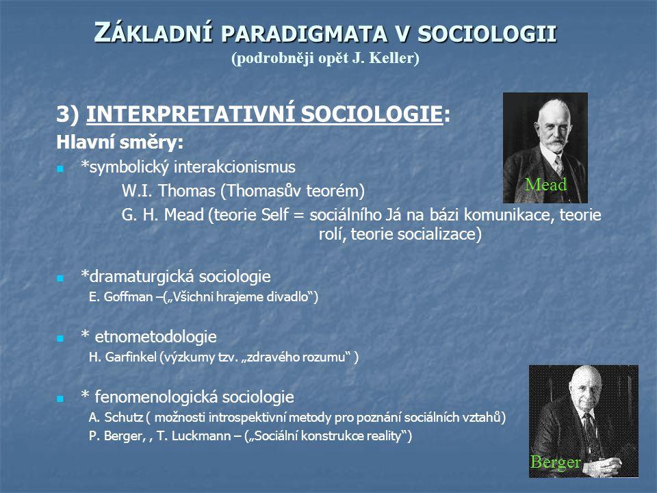 Základní paradigmata v sociologii (podrobněji opět J. Keller)
