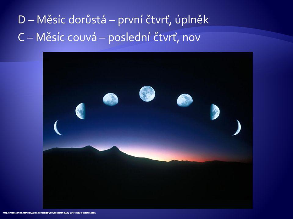 D – Měsíc dorůstá – první čtvrť, úplněk C – Měsíc couvá – poslední čtvrť, nov