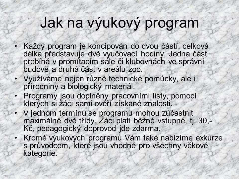 Jak na výukový program