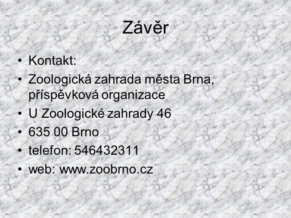 Závěr Kontakt: Zoologická zahrada města Brna, příspěvková organizace