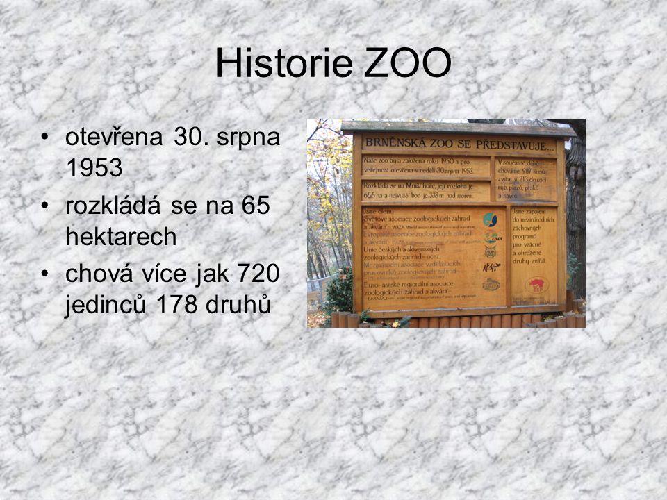 Historie ZOO otevřena 30. srpna 1953 rozkládá se na 65 hektarech