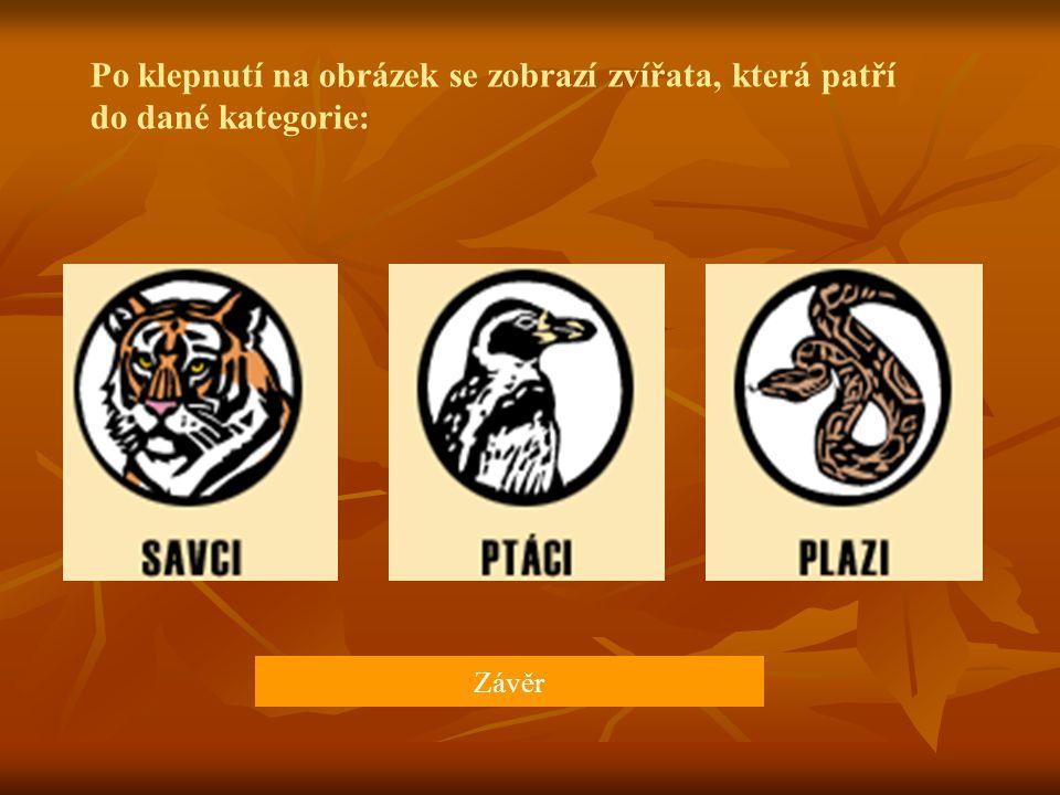 Po klepnutí na obrázek se zobrazí zvířata, která patří do dané kategorie: