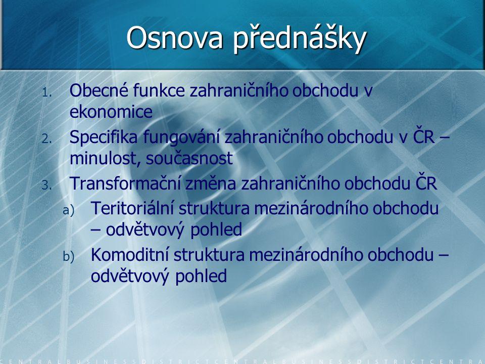 Osnova přednášky Obecné funkce zahraničního obchodu v ekonomice