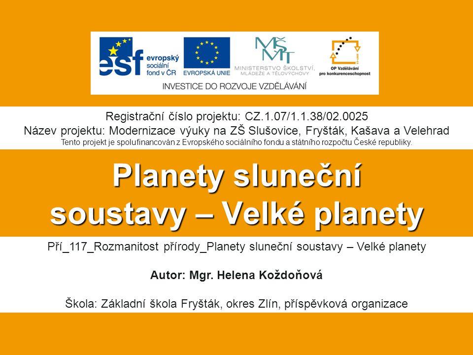 Planety sluneční soustavy – Velké planety