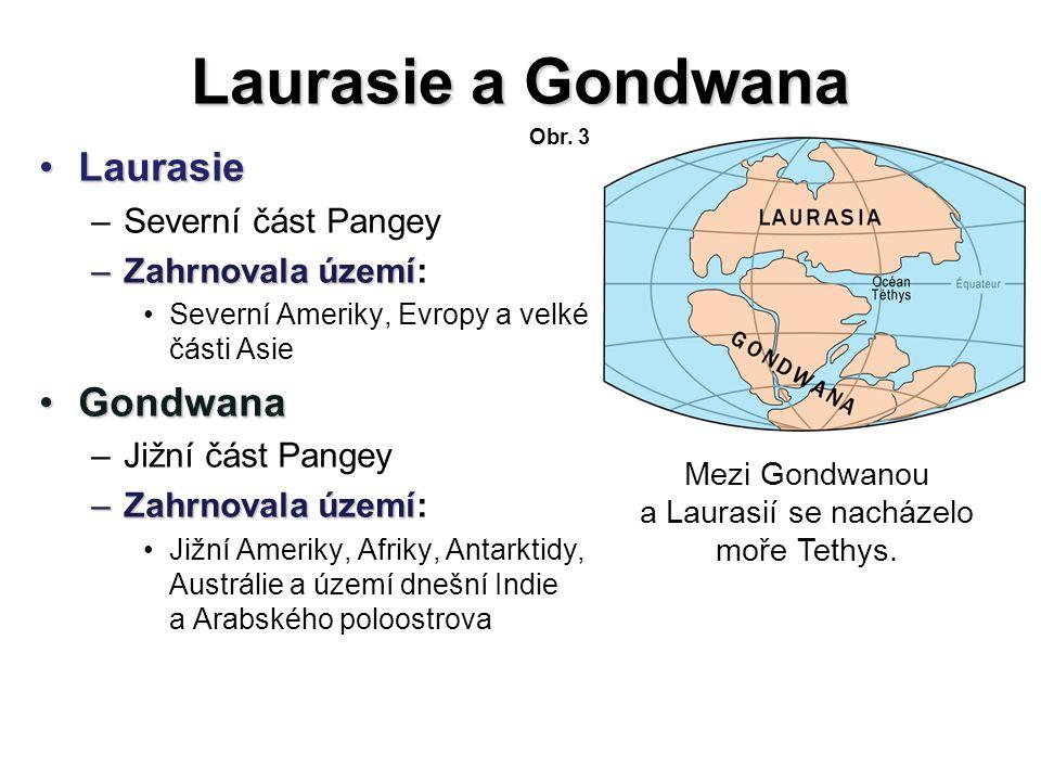 Mezi Gondwanou a Laurasií se nacházelo moře Tethys.