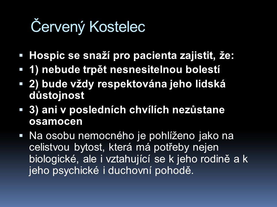 Červený Kostelec Hospic se snaží pro pacienta zajistit, že: