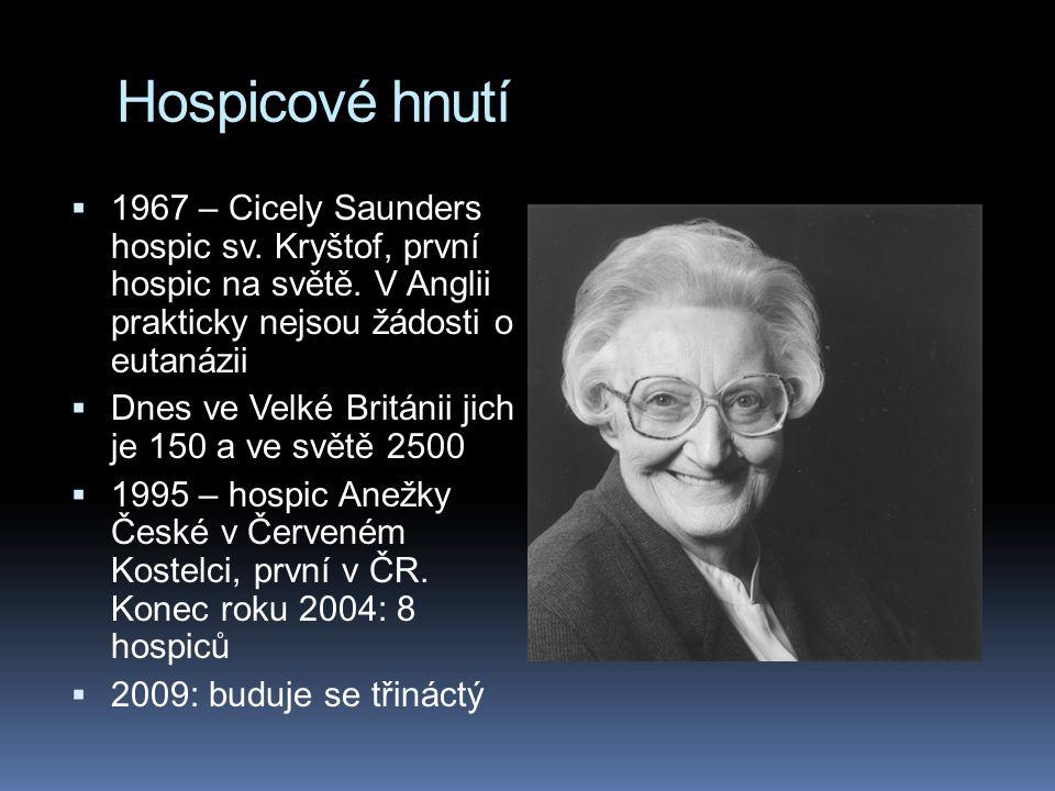 Hospicové hnutí 1967 – Cicely Saunders hospic sv. Kryštof, první hospic na světě. V Anglii prakticky nejsou žádosti o eutanázii.