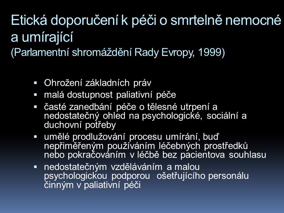 Etická doporučení k péči o smrtelně nemocné a umírající (Parlamentní shromáždění Rady Evropy, 1999)