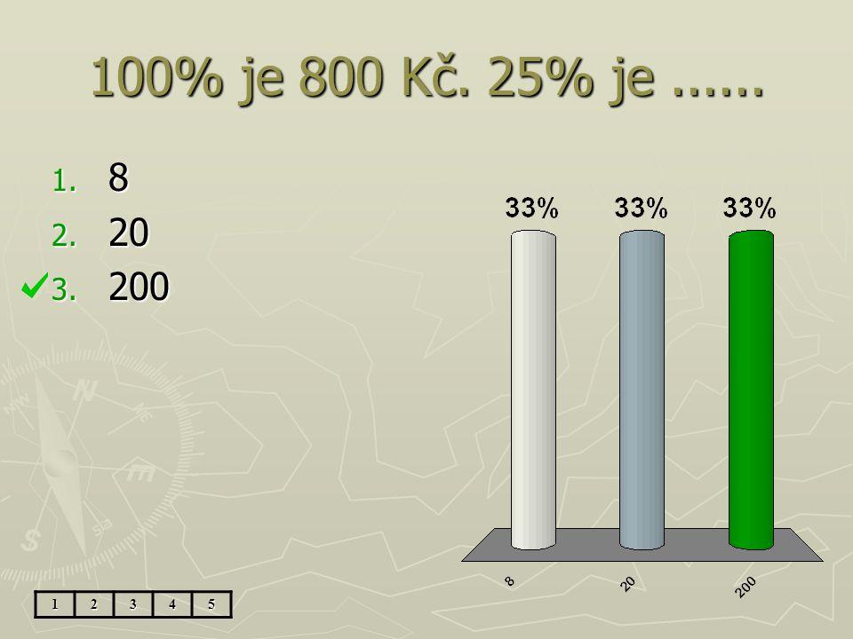 100% je 800 Kč. 25% je ...... 8 20 200 1 2 3 4 5