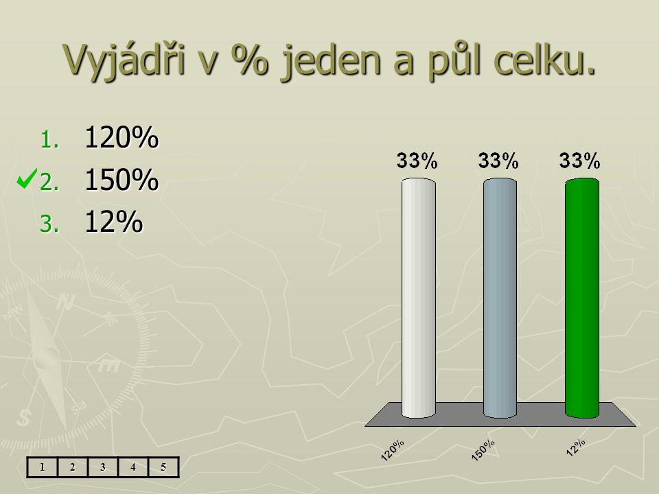 Vyjádři v % jeden a půl celku.