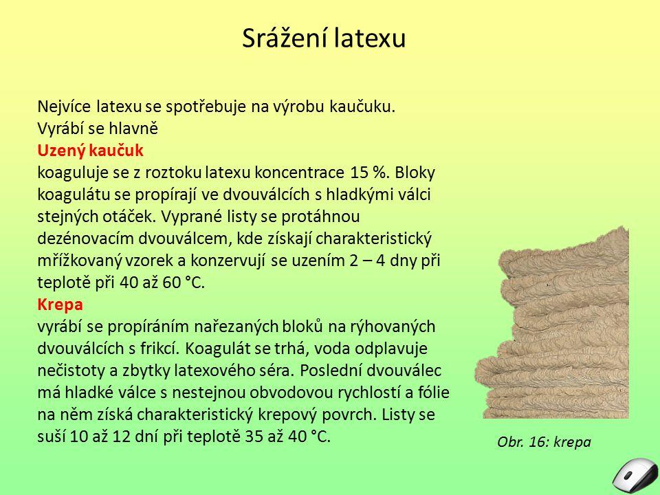 Srážení latexu Nejvíce latexu se spotřebuje na výrobu kaučuku.