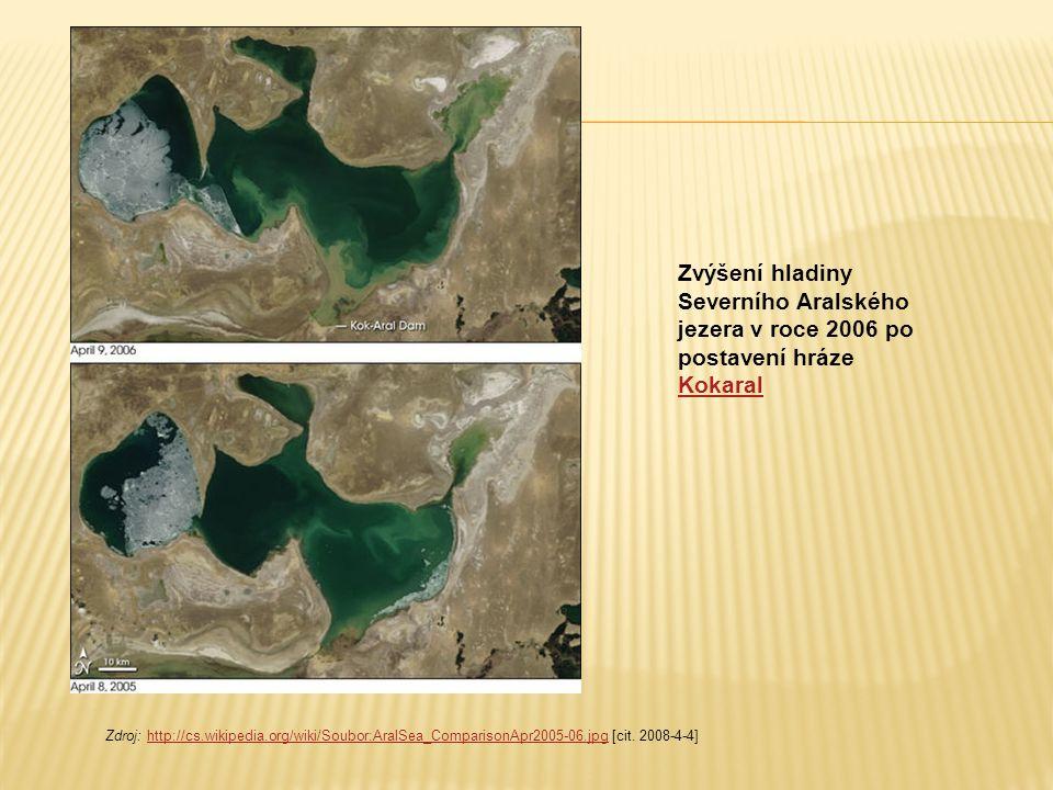 Zvýšení hladiny Severního Aralského jezera v roce 2006 po postavení hráze Kokaral