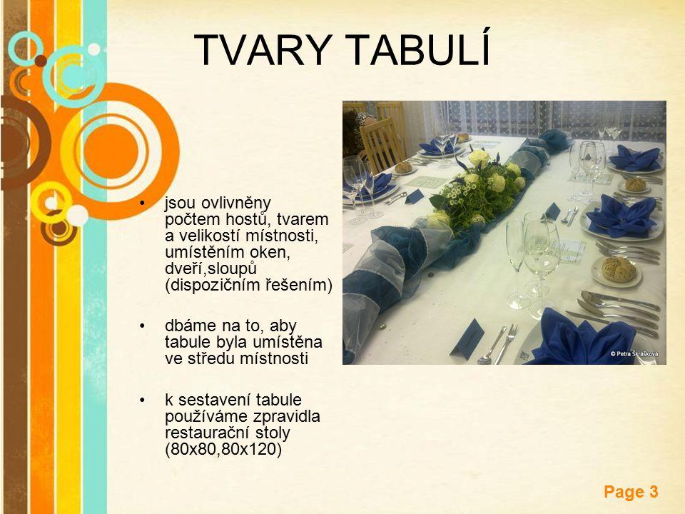 TVARY TABULÍ jsou ovlivněny počtem hostů, tvarem a velikostí místnosti, umístěním oken, dveří,sloupů (dispozičním řešením)