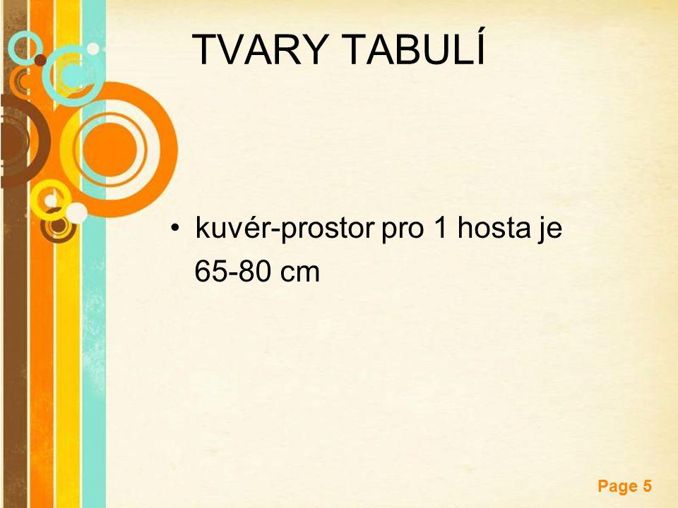 TVARY TABULÍ kuvér-prostor pro 1 hosta je 65-80 cm