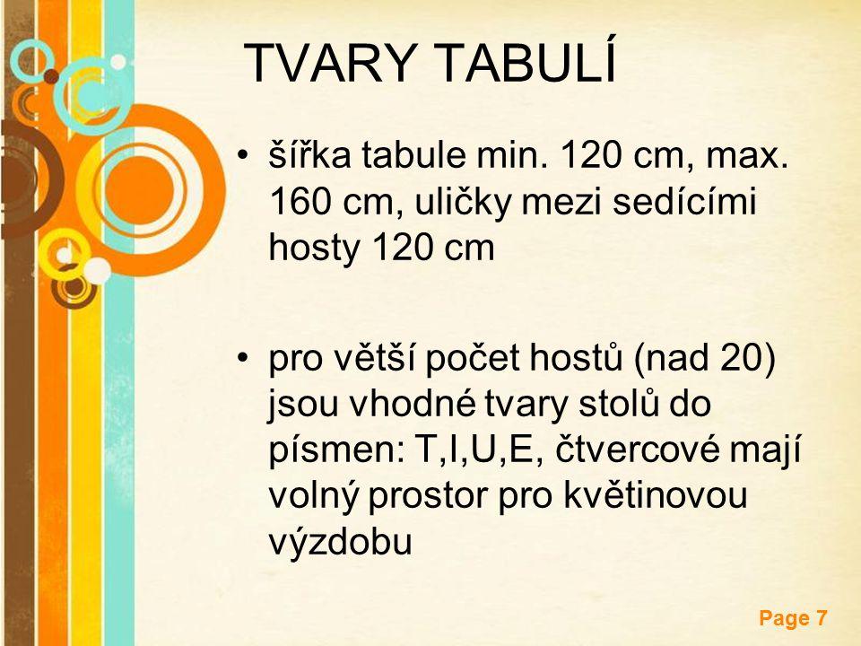 TVARY TABULÍ šířka tabule min. 120 cm, max. 160 cm, uličky mezi sedícími hosty 120 cm.