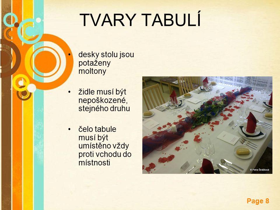 TVARY TABULÍ desky stolu jsou potaženy moltony