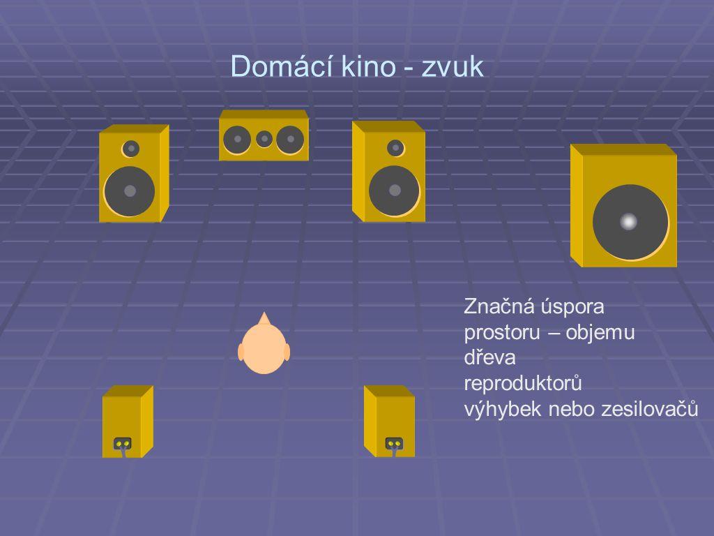 Domácí kino - zvuk Značná úspora prostoru – objemu dřeva reproduktorů