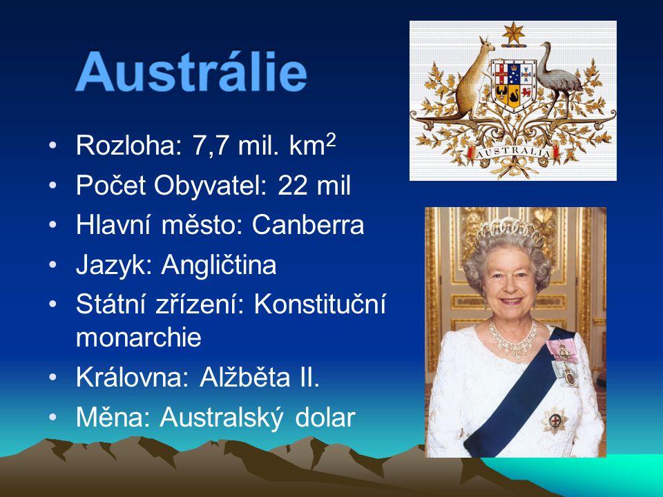 Austrálie Rozloha: 7,7 mil. km2 Počet Obyvatel: 22 mil