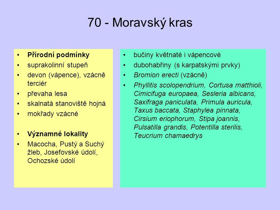 70 - Moravský kras Přírodní podmínky suprakolinní stupeň